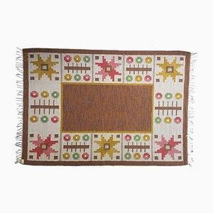 Schwedischer Brauner Vintage Rölakan Flachgewebe Teppich von Astrid Sampe