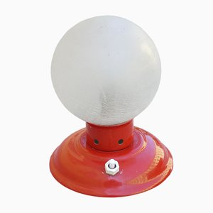 Lampada da tavolo vintage sferica in vetro