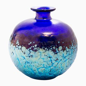 Antique Round Blue Vase from Loetz