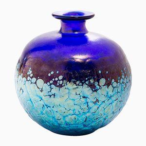 Runde Antike Blaue Vase von Loetz