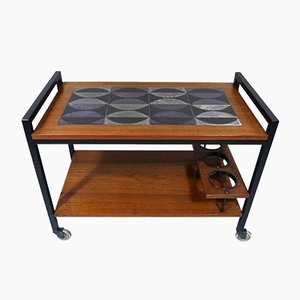 Teak Trolley with Ceramic Tiles, 1960s