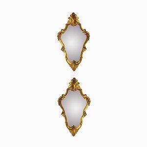 Vergoldete Italienische Spiegel, 2er Set