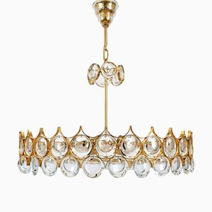 Vintage Large Gilded Brass and Glass Chandelier by Palwa