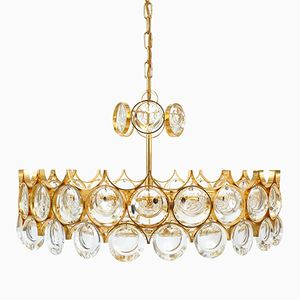 Vintage Gilt Brass and Glass Chandelier from Palwa