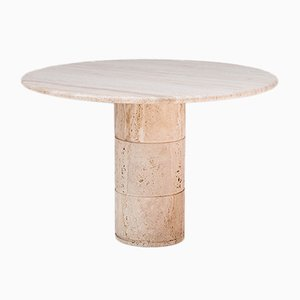 Belgian Round Travertine Table, 1970s