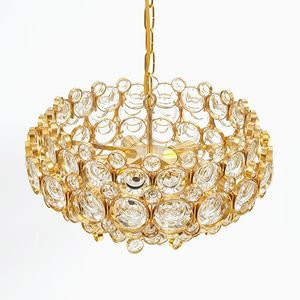 Mid-Century Gilt Brass and Glass Chandelier from Palwa