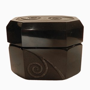Black Opaque Glass Candy Box by Jean Luce