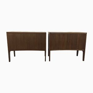 Curved Wood Cabinets with Sliding Doors, Set of 2