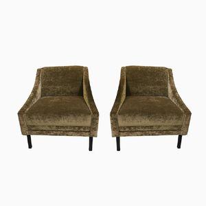 Mid-Century Chenille Armchairs, 1950s, Set of 2