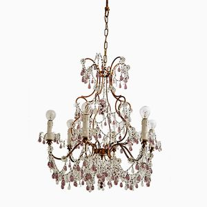 Vintage Chandelier with Murano Glass Drops, 1950s