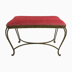 Mid-Century Iron and Red Upholstered Bench, 1950s