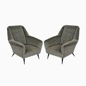Mid-Century Velvet Armchairs by Gio Ponti, Set of 2