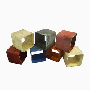Modular Multi-Colored Cubes by Willy Guhl, 1970s, Set of 7