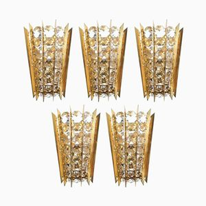 Mid-Century Crystal and Brass Sconce by Bakalowits & Sohne