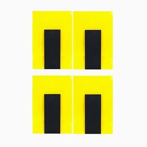 Lichtobjekte in Schwarz & Gelb von Johanna Grawunder für Memphis, 1989, 4er Set