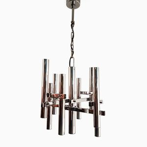 Vintage Chrome Chandelier by Gaetano Sciolari, 1960s