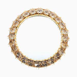 Großer Beleuchteter Mid-Century Spiegel aus Vergoldetem Messing & Kristallglas von Palwa, 1960er