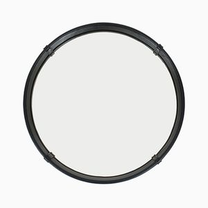 Mid-Century Circular Leather Wrapped Mirror by Pace