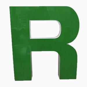 Großer Grüner Vintage Buchstabe R