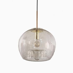 Vintage Hand-Blown Glass and Brass Globe Pendant from Doria Leuchten, 1970s