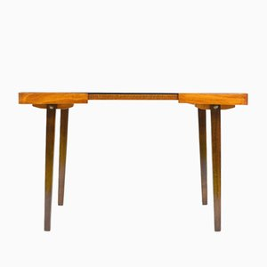 Mid-Century Black Glass and Wood Coffee Table, 1970s