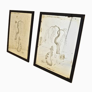 Art Deco Chinese Themed Etched Mirrors, 1930s, Set of 2