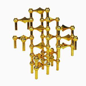 Goldene Kerzenständer von Fritz Nagel & Ceasar Stoffi für Bmf, 1962, 14er Set