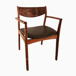 Mid-Century Danish Rosewood and Leather Armchair, 1960s