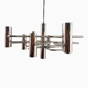Vintage Chrome Geometric Chandelier by Gaetano Sciolari for SA Boulanger, 1970s