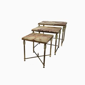 Vintage Italian Brass & Marble Neo Classical Nesting Tables, 1960s