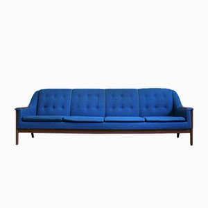 Mid-Century Teak & Cobalt Blue Fabric Sofa from R. Huber & Co, 1960s