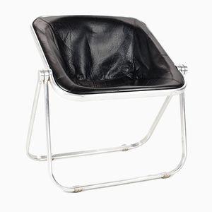 Schwarzer Vintage Plona Stuhl aus Leder von Giancarlo Piretti für Castelli