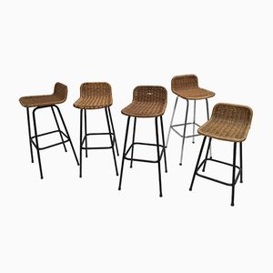 Rattan Bar Stools by Dirk van Sliedregt for Gebroeders Jonkers, 1960s, Set of 5