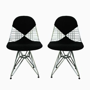Vintage DKR-2 Wire Chairs with Bikini Covers by Charles & Ray Eames for Vitra, Set of 2
