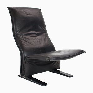 Mid-Century Black Leather Concorde Lounge Chair by Pierre Paulin for Artifort, 1966