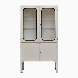 Vintage Glass & Iron Medicine Cabinet With Double Doors, 1970s