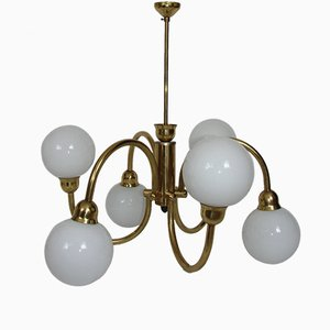 Mid-Century Brass Chandelier with Glass Bowls, 1960s