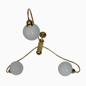Mid-Century Brass and Glass Bowl Chandelier, 1960s