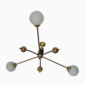 Mid-Century Brass, Steel and Glass Chandelier, 1960s