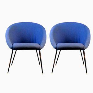 Blaue Mid-Century Armlehnstühle, 1960er, 2er Set