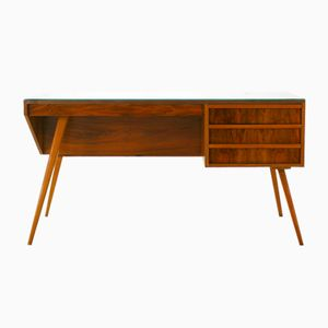 Mid-Century Modern Walnut and Glass Asymmetric Writing Desk, 1950s