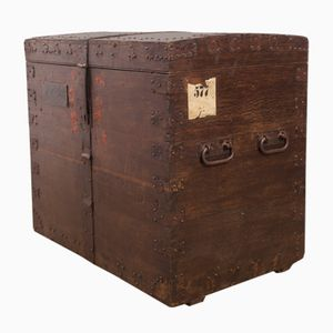Antique Oak and Steel Bound Silver Trunk, 1850s