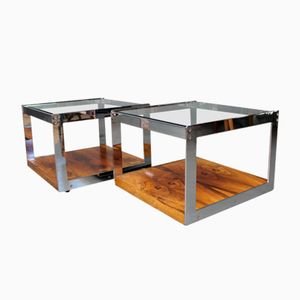Mid-Century Rosewood and Glass Coffee Tables by Richard Young for Merrow Associates, Set of 2