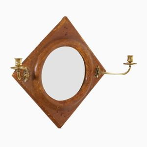Antique Leather Mirror, 1830s