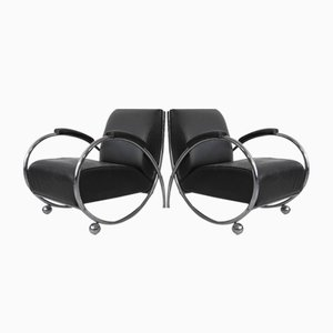 Mid-Century Black Leather Armchairs with Tubular Chrome-Plated Steel Frame, Set of 2