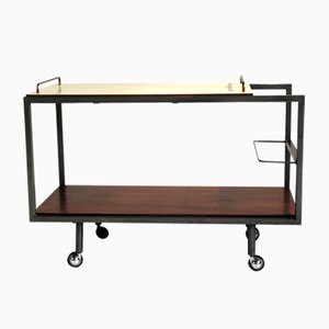 Mid-Century Mahogany and Formica Bar Cart by Georges Frydman for E.F.A., 1950s