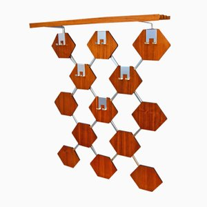 Danish Teak and Chrome Coat Rack, 1960s