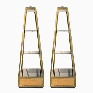 Obelisk Display Stands in Brass and Glass by Willy Rizzo, 1970s, Set of 2