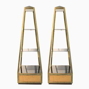 Obelisk Präsentationsständer aus Messing & Glas von Willy Rizzo, 1970er, 2er Set