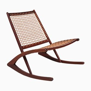 Rocking Chair Vintage en Teck avec Corde en Papier
